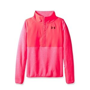 🆕 nwt UNDER ARMOUR girl's hot pink fleece sweater